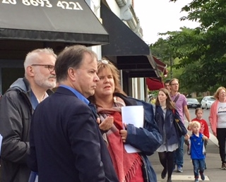 GLA member Andrew Boff is briefed by local Councillors Jane Lyons and Michael Mitchell on the scale of impact of roadworks on Dulwich Village junction